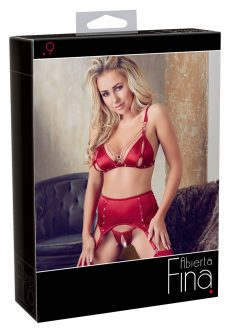 Bra and Suspender Set Red S